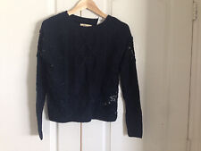 Hollister Women Sweater S Navy Blue Lace Long Sleeve Floral Cable Knit Cotton