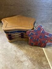Longaberger 2003 Proudly American Little Star Basket with Linnet And Coasters