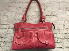 Toscani Women's Pink Genuine Leather Shoulder Bag Handbag Multi Pockets Zippers