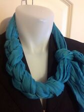 New Aqua Braided Neck Scarf Slipover 85% Algodon