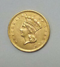 {BJSTAMPS} 1856 $1 Dollar GOLD Liberty Type 3 AU