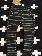 ZARA Boys Black Green Uneven Stripes XL Leggings Trousers 2-3 Years BNWT