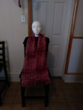 Scarf. Handmade crochet knit fringe ends. Cranberry, acrylic, glitter yarn.