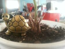 16 pcs Cute Brass Turtle plant stake Herb Garden Plant Picks Flower Pot Decor