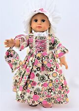 Floral Colonial Pilgrim Dress with White Mobcap 18'' dolls American Fashion