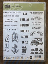 Stampin Up, Retired GUY GREETINGS Photopolymer Stamp set Masculine Fathers Day