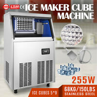 110V Commercial Ice Maker 100LBS//24H with 45lbs Storage Capacity microcomputer