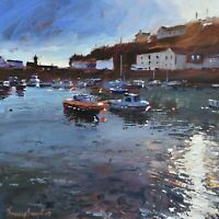 Jeremy Sanders Original Oil Painting - Boats At Porthleven Cornwall Cornish Art