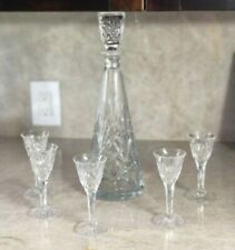 Vintage Crystal Cut Glass Set of 6 Decanter and Sherry Cordial Aperitif Glasses