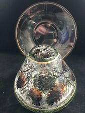 Yankee Candle Pine Cone Crackle Glass Shade Jar Topper & Plate