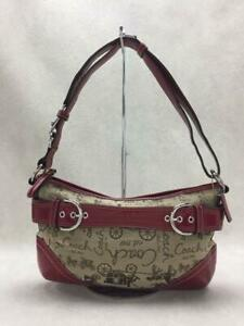COACH  Red F14442 Canvas Red Fashion Shoulder bag 9168 From Japan