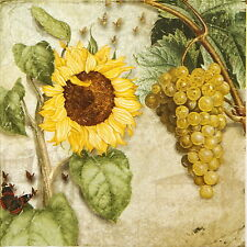4x Paper Napkins - Sunflower and Grapes - for Decoupage Craft Vintage