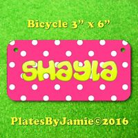 PINK with White Polka Dots ANY  NAME or TEXT Child's Bicycle Bike License Plate