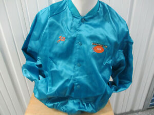 VINTAGE MIAMI SUPER BOWL XXIII 1989 HOST SEWN TEAL SATIN NYLON XL JACKET 49ers