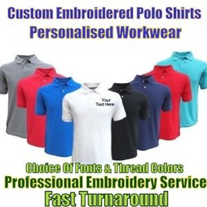Custom Embroidered Polo Shirt Personalised With Your Text  Workwear & Uniforms