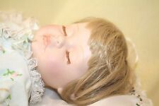 Vintage Handmade 18 inch Ceramic Realistic Sleeping Baby Girl Doll With Blanket