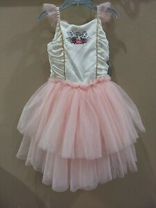 Disney princess Leotard Tutu Dress Ruffle Tuele Sparkly Size 5/6 Dance Costume