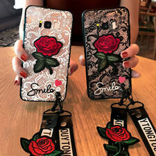 For Huawei P40 P30 P20 Pro Mate 30 20 Nova 5T Lace Rose Flower WIth Lanyard Case
