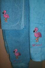 Pink Flamingo Personalized 3 Piece Bath Towel Set  Any Color