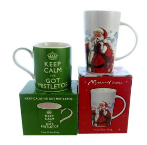 2 x gifts boxed china mugs christmas theme, christmas presents