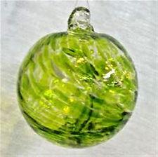 "Hanging Glass Ball 4"" Diameter Peridot Green Witch Ball (1) GB9"