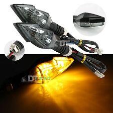 2x Universal Motorcycle Bike Amber LED Turn Signal Indicator Blinker Light Smoke