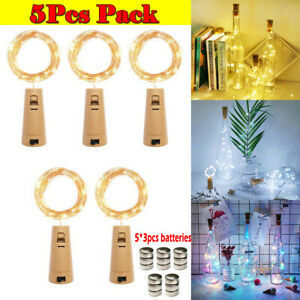 5Pcs Bottle LED Fairy String Lights Battery Cork Shaped Christmas Wedding Party