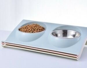 Double dog cat bowl stainless steel feeding station easy clean water and food