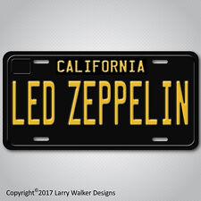 LED ZEPPELIN Black 1960s Vintage California Aluminum Vanity License Plate Tag