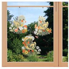 3er Set Fensterbilder Küken Trio Plauener Spitze Dekoidee Frühling und Ostern