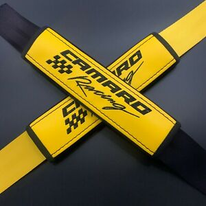 Yellow seat belt covers pads Black embroidery Fits Chevrolet Camaro Racing 2PCS