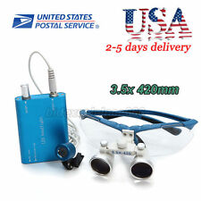 USA Dental Surgical Medical Binocular Loupes + LED Head Light Lamp 3.5X420mm