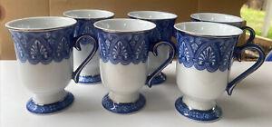 6 BOMBAY ARABESQUE BLUE & WHITE PEDESTAL COFFEE TEA MUGS With PLATINUM TRIM