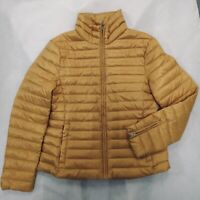ZARA Mustard Yellow Quilted Anorak Coat Double Puffer Jacket XS Small