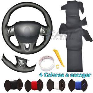 Funda de volante a medida para Renault Fluence Megane Scenic en cuero negro