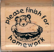 Papermania ' Please finish for homework ' small rubber stamp on wooden block