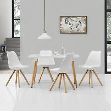 [en.casa] Dining Table with 4 Chairs White Wax 120x70cm table dining area chairs
