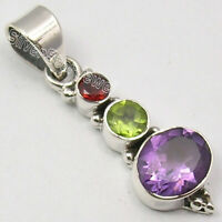 925 Sterling Silver Garnet, Peridot, Amethyst Pendant Handcrafted Jewelry