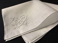 """#6690🌟Vintage 20s Appenzell Monogram """"D"""" Linen Wedding Handkerchief Heirloom"""