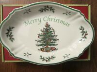 "Spode Christmas Tree Sculpted Serving Bowl 11"" Merry Christmas Tray Dish / NIB"