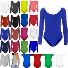 Womens Round Neck Jersey Leotard Ladies Plain Long Sleeves Plain Bodysuit Top