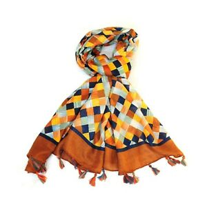Harlequin Print Multi Colour Women Scarf with Tassels (Coffee)
