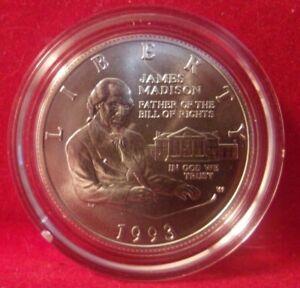1993-W BU JAMES MADISON BILL OF RIGHTS COMMEM SILVER 50C NO BOX OR COA *DN*