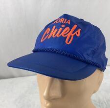 Vtg Peoria Chiefs Hat Strapback Cap Blue MILB Baseball Script Sportcap Supreme