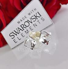 925 Sterling silver Stud Earrings CUBE Crystal Cal 6mm Crystals From Swarovski®