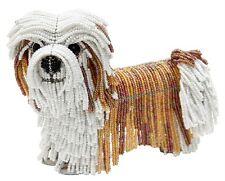 Beadworx Glass Beads NWT Beaded Wire Levi Lhasa Apso or Shih Tzu Dog Tan & White