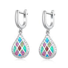 """Delicate Blue Pink Green Fire Opal Silver Women Jewelry Earrings 1 1/4"""" OH4538"""