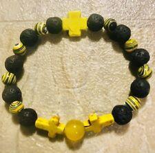 Chakra Balance Natural Stone Bracelet/Lava/yellow Cross Bracelet.