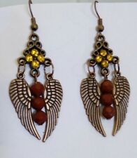 Yellow Rhinestone and feather wing copper EARRINGS Jewellery (T2)