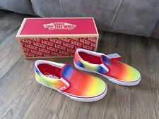 NWT Vans Rainbow Glitter Slip On Shoes Womens 8 Mens Youth Boys Kids 6.5